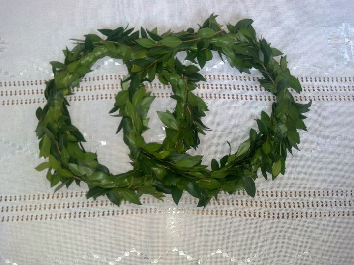 Wedding wreath for use in the church as crowns for the bride and groom. Made with Myrtle a symbol of...