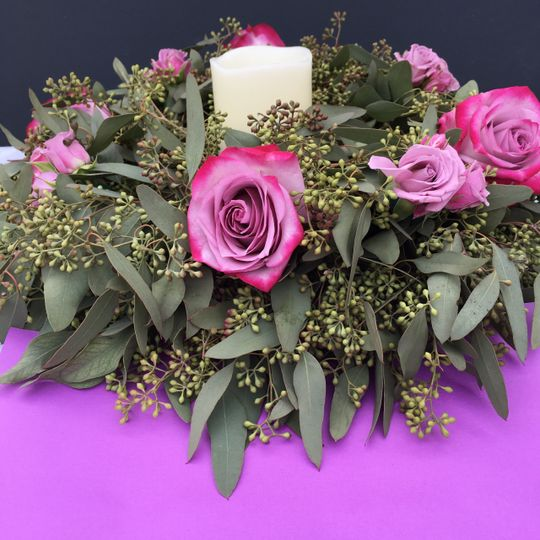 Sample centerpiece with candle