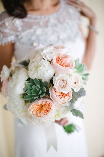 perfect bouquet with blush peach peonies succulent