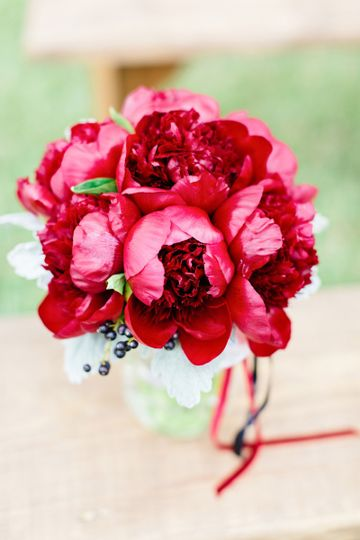 lizs personal bright red peonies
