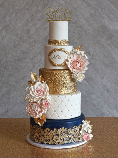 Gold and pink fondant cake