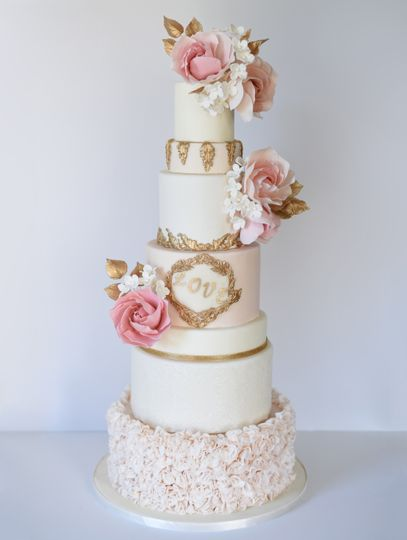 Pink and gold color scheme