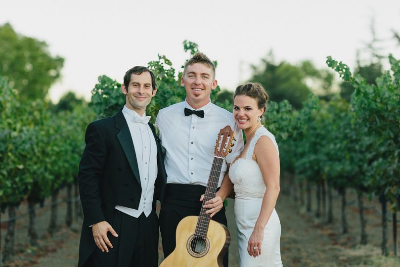 Newlyweds with musician