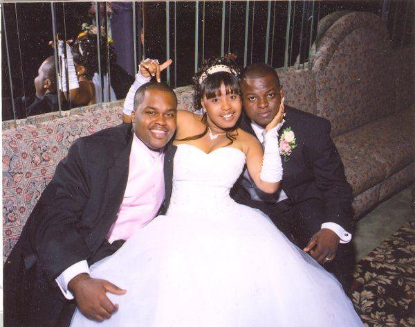 Couple and groomsmen