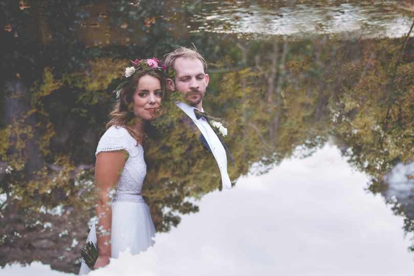 Reflection of the newlyweds