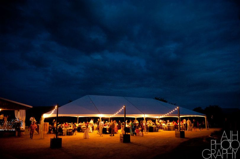 tent for reception at hideout on the horseshoe