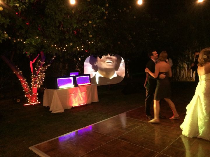 Casa Cody Palm Springs showing setup with uprights and music videos