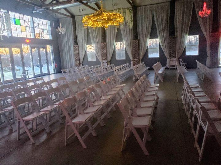 Barn indoor ceremony seating