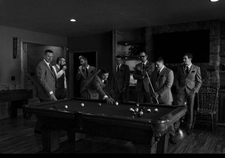 Groomsmen in the game room