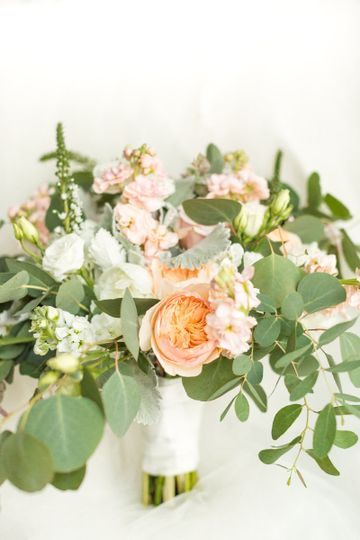 Peach roses and leaves