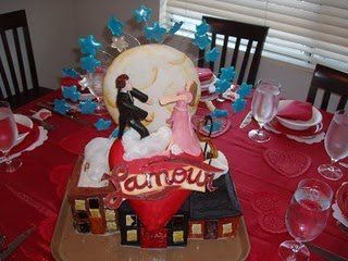 This romantic cake was created for a Valentine's Day party.