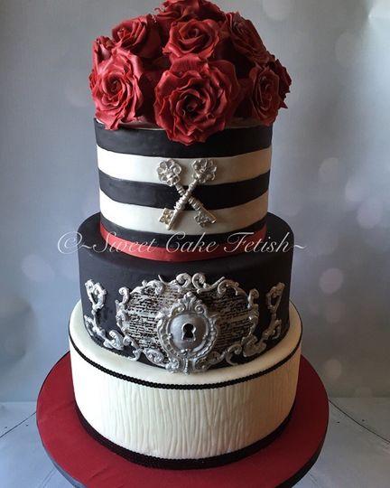 retro black red and white cake