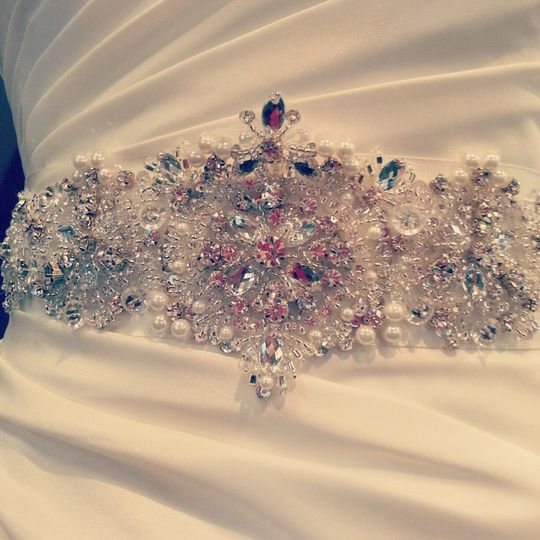 The accessories make your gown uniquely yours...likes this regal belt from Kitty Chen Couture