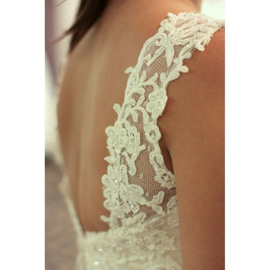 Casablanca Bridal custom lace straps at Camarillo Bridal