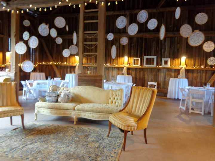 The barn can be turned into a vintage parlor with vintage furniture rentals!