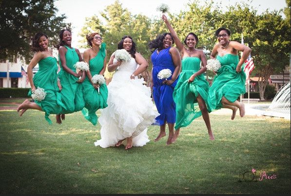 Wedding jump shot photo