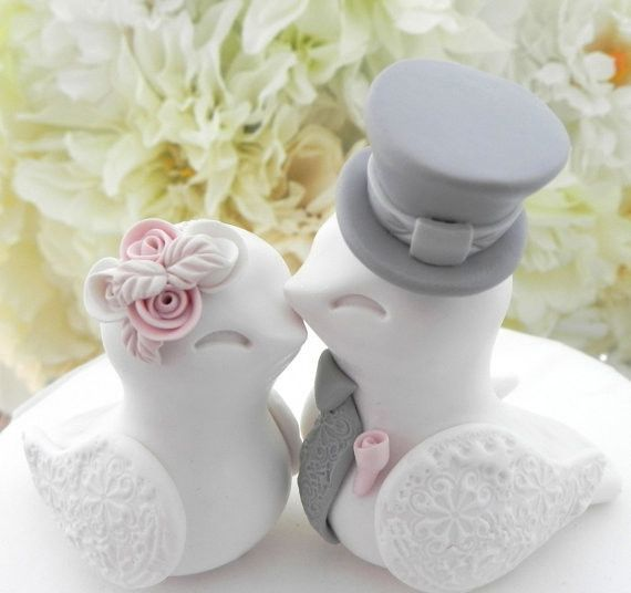 Love Birds Wedding Cake Topper, White, Dusty Pink and Grey, Bride and Groom Keepsake, Fully...