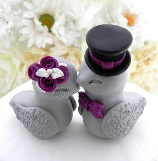 Love Birds Wedding Cake Topper, White, Plum Purple, Black and Grey, Bride and Groom Keepsake, Fully...
