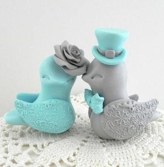 Robin Egg Blue and Gray Love Birds Wedding Cake Topper Bride and Groom Keepsake, Fully Customizable