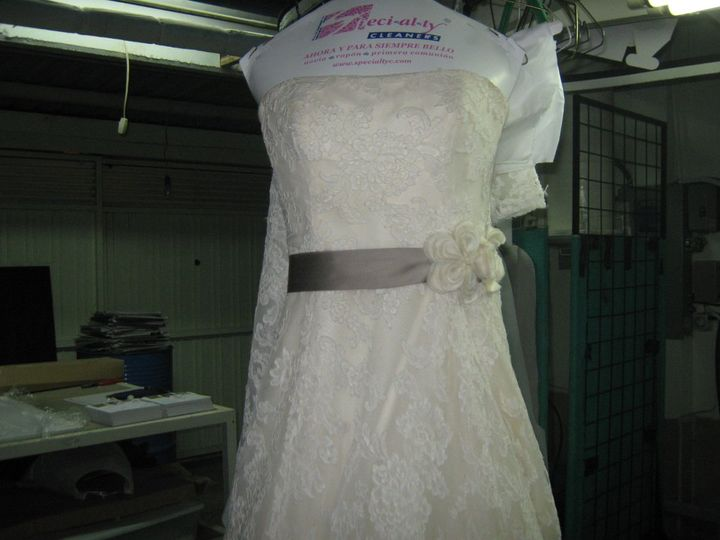 An spanish designed wedding gown ready to go back home.