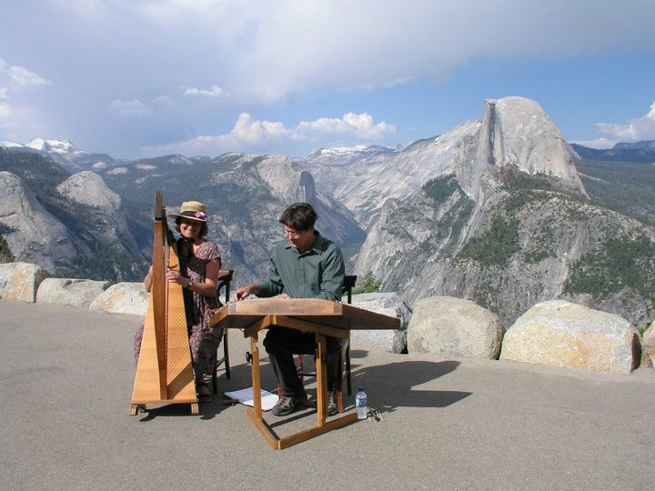 Outdoor wedding at Glacier Point, Yosemite National Park