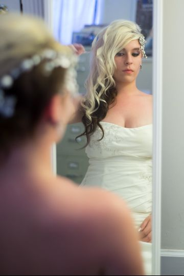 Curls and braid for the bride