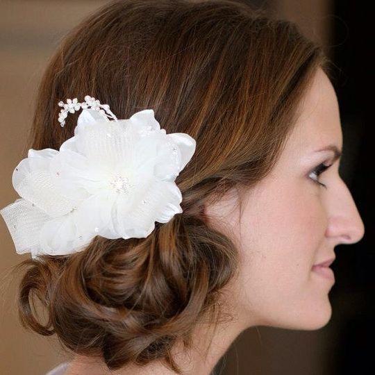 Flower on the bride's hair