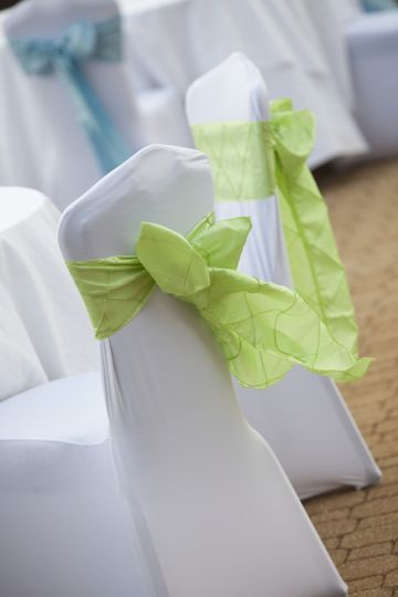 Sage Pintuck Sashes on White Spandex Chair Covers