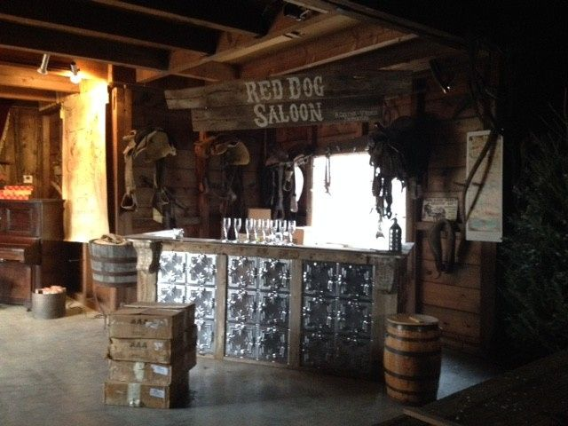 Build a bar in the wagon room for the perfect rustic touch!
