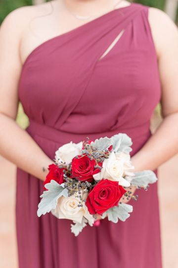 Bridesmaid's dress and bouquet