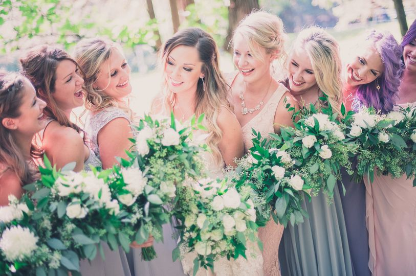 Ladies holding their bouquets