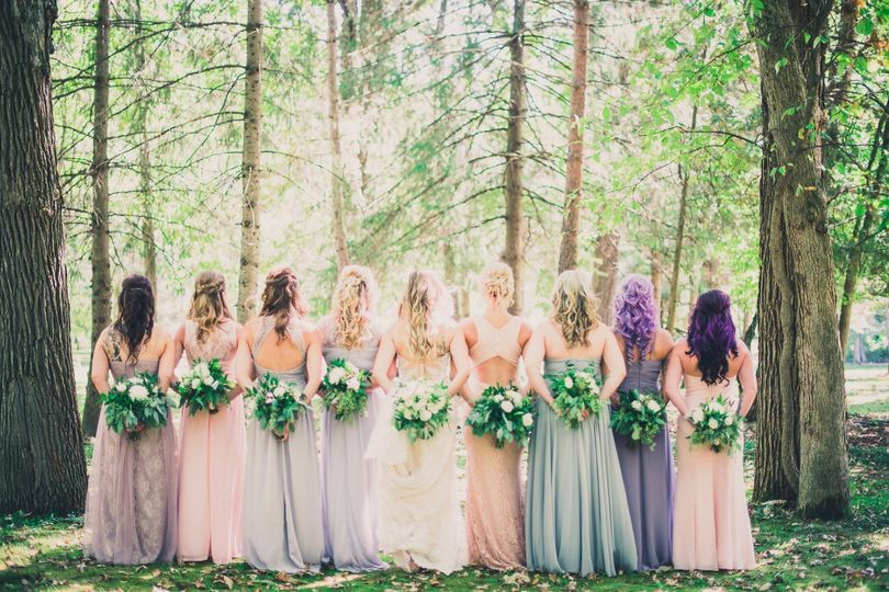 Back photo with bouquets