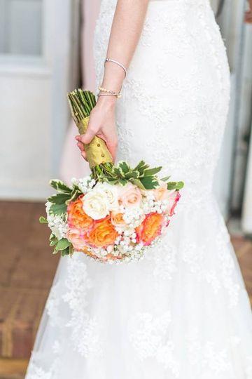 White and orange bridal bouquet