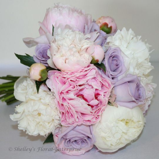 White, purple, and pink arrangement