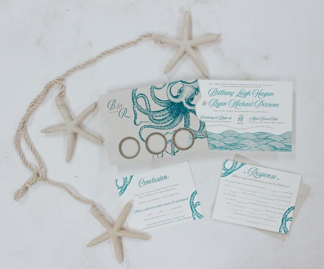 Aqua sea-inspired invites