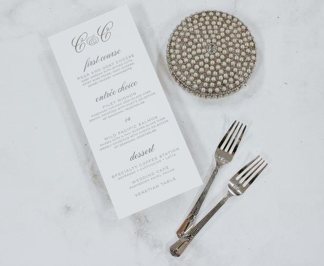 Letterpress silverfoil menu