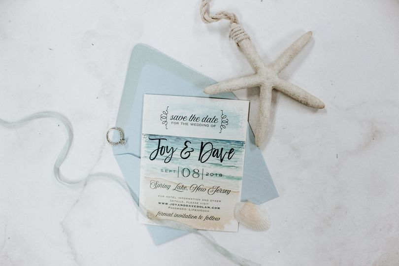 Beach-inspired save-the-date