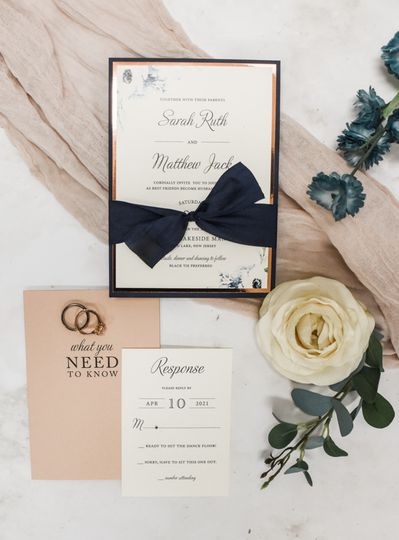 Rose gold foil and navy