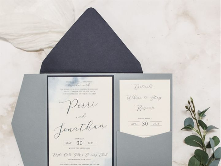 Tmx Dusty Blue Watercolor And Metallic Bee Wax Seal Nj Wedding Invitation 51 560428 162051205076744 Farmingdale, New Jersey wedding invitation