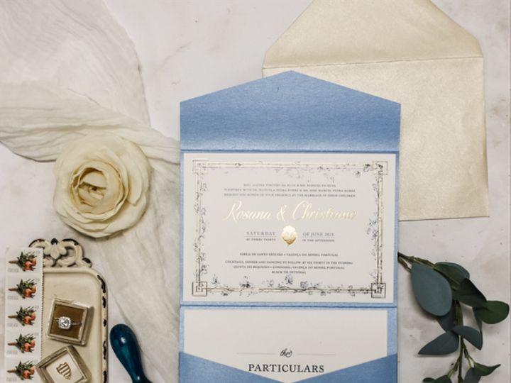 Tmx Gold Foil And Cornflower Blue Destination Wedding Invitation 51 560428 162051205090478 Farmingdale, New Jersey wedding invitation