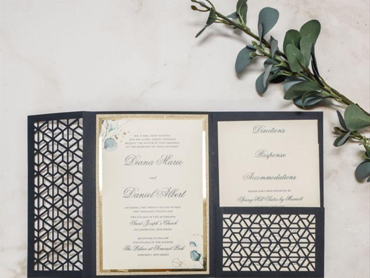Tmx Gold Foil And Navy Geometric Laser Cut Enclosure Nj Wedding 51 560428 162051204672412 Farmingdale, New Jersey wedding invitation