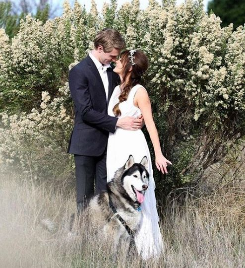 Couple photo with Husky