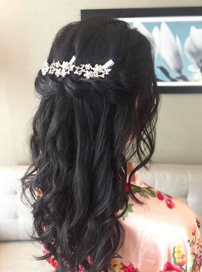 Half updo with hair ornament