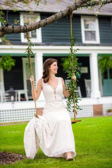 Bride by the swings