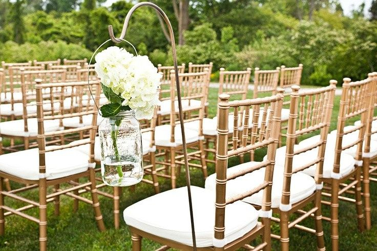 GOLD CHIAVARI CHAIRS WITH WHITE CUSHION