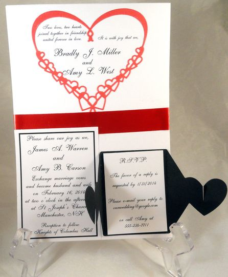 red heart black rsvp card ope