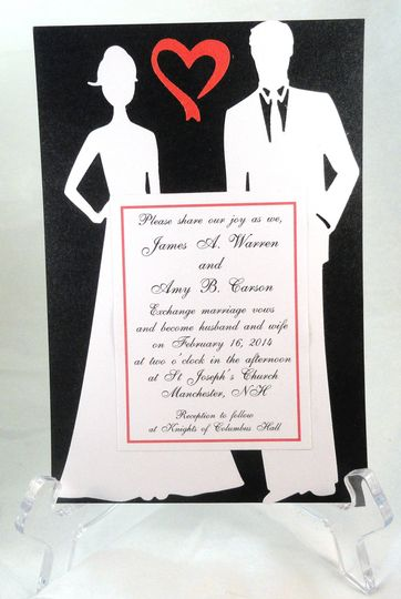 silhouette couple white on black with red open hea
