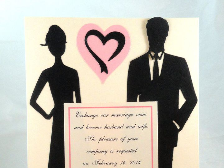 Tmx 1393948423580 Pink Heart Silhouette Coupl South Berwick wedding invitation