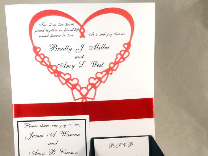 Tmx 1393948447435 Red Heart Black Rsvp Card Ope South Berwick wedding invitation