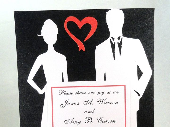 Tmx 1393948461219 Silhouette Couple White On Black With Red Open Hea South Berwick wedding invitation